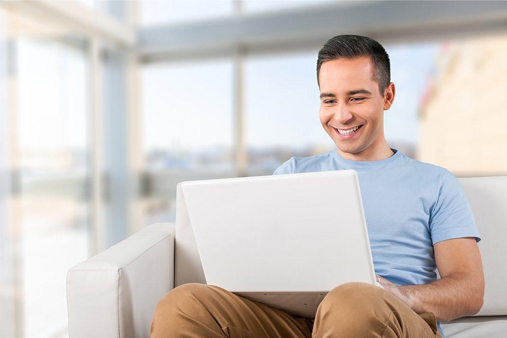 Laptop, man, using.